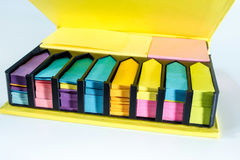 Box of colorful post it paper Stock Photography