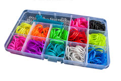 Box with colorful rubber bands for rainbow loom Stock Images