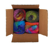 Box of colorful yarn Royalty Free Stock Photography