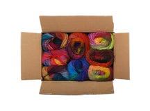 Box of colorful yarn. Box full of colorful knitting yarn Stock Photos