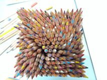 Box of Colors. Box of color pencils seen from above with natural pattern Royalty Free Stock Images