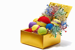 Box with colourful balls Royalty Free Stock Photos