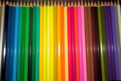 Box of colours pencils royalty free stock image