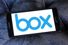 Box company logo. Logo of Box company on samsung mobile. Box is a cloud content management and file sharing service for businesses. The company uses a freemium stock photography