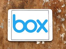 Box company logo. Logo of Box company on samsung tablet. Box is a cloud content management and file sharing service for businesses. The company uses a freemium stock image