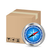 Box and compass Royalty Free Stock Photography
