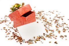 Box, confetti and card Stock Photos