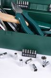 Box with construction tools isolated Stock Photography