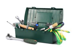 Box with construction tools isolated Stock Photo
