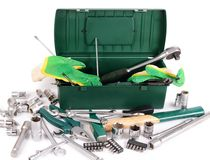Box with construction tools isolated Royalty Free Stock Photos