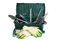Box with construction tools isolated Royalty Free Stock Photo
