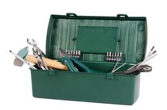 Box with construction tools isolated Royalty Free Stock Images