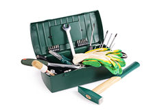 Box with construction tools isolated Stock Images