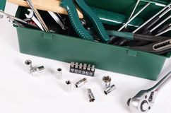 Box with construction tools isolated Royalty Free Stock Image