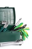 Box with construction tools isolated Stock Photos