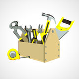 Box with construction tools. Wooden box with construction tools Royalty Free Stock Photography