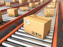 Box on conveyor roller.