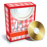 Box with cooking software. Red blank 3d box with cooking software and CD Stock Photo