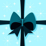 Box cover with ribbon in turquoise blue white shades royalty free stock photos