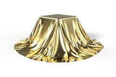 Box covered with golden fabric Royalty Free Stock Image