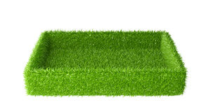 Box covered a green grass. 3d image isolated on a white background Stock Photo