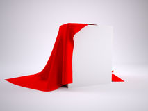 Box covered with red cloth Stock Photo