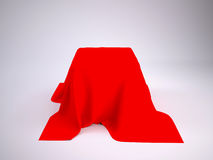 Box covered with red cloth Royalty Free Stock Images
