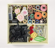 Box with craft accessories royalty free stock image