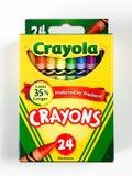 Box of Crayola Crayons on a white backdrop royalty free stock photos