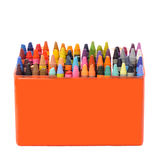 Box of crayons. A bunch of crayons in a box Stock Photos