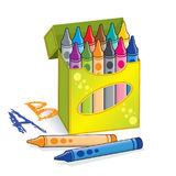 Box of crayons Royalty Free Stock Images