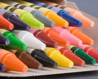 Box of crayons. A closeup of a colorful box of crayons Stock Photo