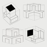 Box cube carton tray safe symbol. Illustratio Royalty Free Stock Images