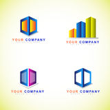 Box or cube logo set Royalty Free Stock Images