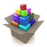 Box with cubes. In the design of the information associated with the abstraction Stock Illustration