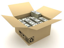 Box and currency Stock Photo