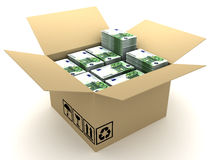 Box and currency Royalty Free Stock Photos