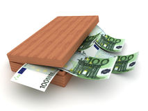 Box and currency Euro. 3D Royalty Free Stock Photography