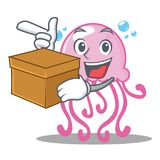 With box cute jellyfish character cartoon royalty free illustration