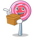 With box cute lollipop character cartoon. Vector illustration Royalty Free Stock Images