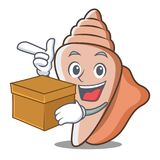 With box cute shell character cartoon Stock Image