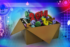 2014 in a box. 3d illustrations. In blue colour Royalty Free Stock Photos