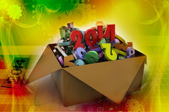 2014 in a box. 3d illustrations. In colour royalty free illustration