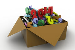 2014 in a box. 3d illustrations. In white background Royalty Free Stock Images