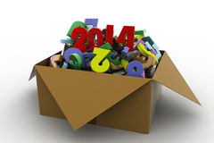 2014 in a box. 3d illustrations. In white background royalty free illustration