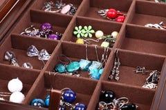 Box dark wooden jewellery Royalty Free Stock Photo
