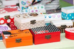 Box decorated by decoupage Royalty Free Stock Images