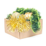 Box with decorations for Christmas Royalty Free Stock Photography