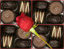 Box of delicious pralines with a red rose Stock Photo