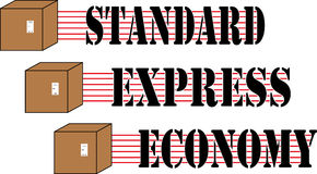 Box Delivery set. Different quality of delivery standards icons for buisness and industry Royalty Free Stock Images